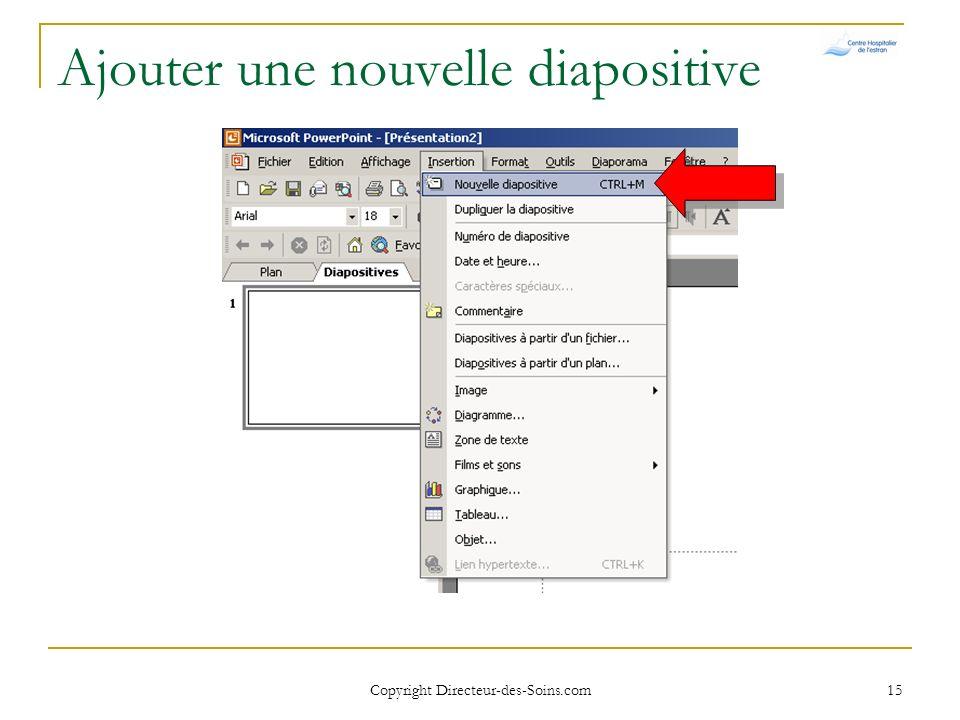 Copyright Directeur-des-Soins.com 14 Page daccueil Par défaut PowerPoint ouvre une première diapositive « de titre »