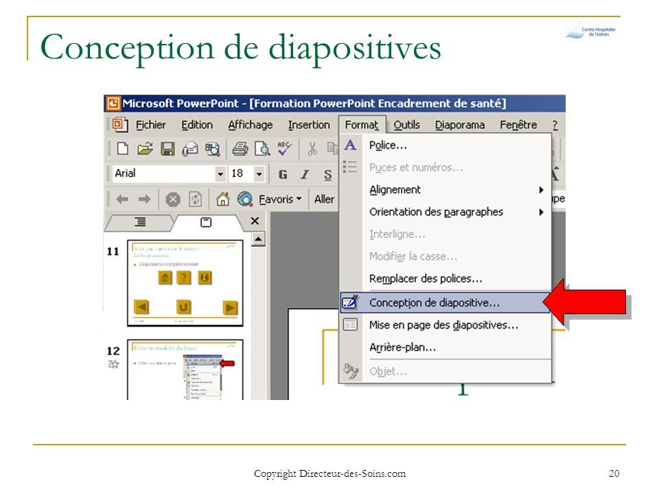 Copyright Directeur-des-Soins.com 19 Mise en page des diapositives Choisir dans la fenêtre de droite la mise en page voulue