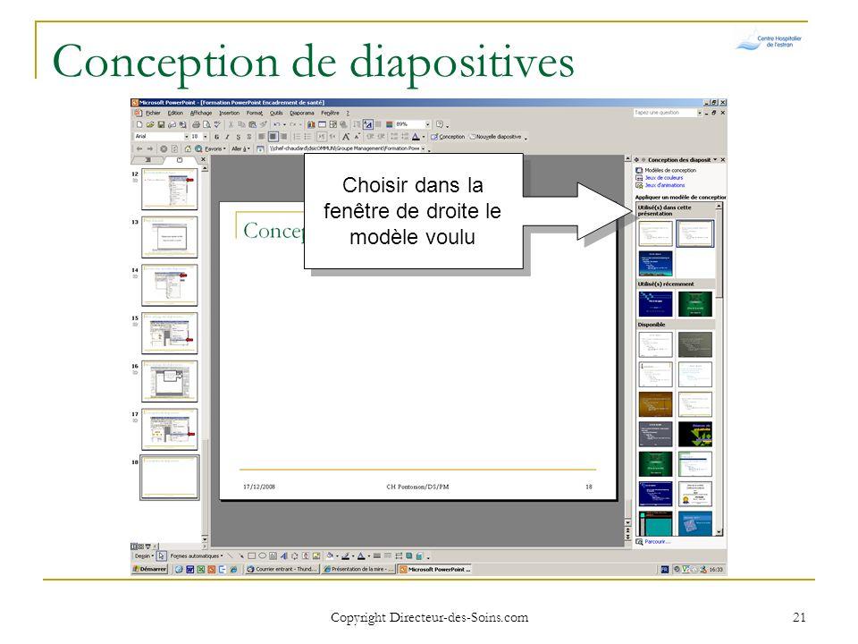 Copyright Directeur-des-Soins.com 20 Conception de diapositives