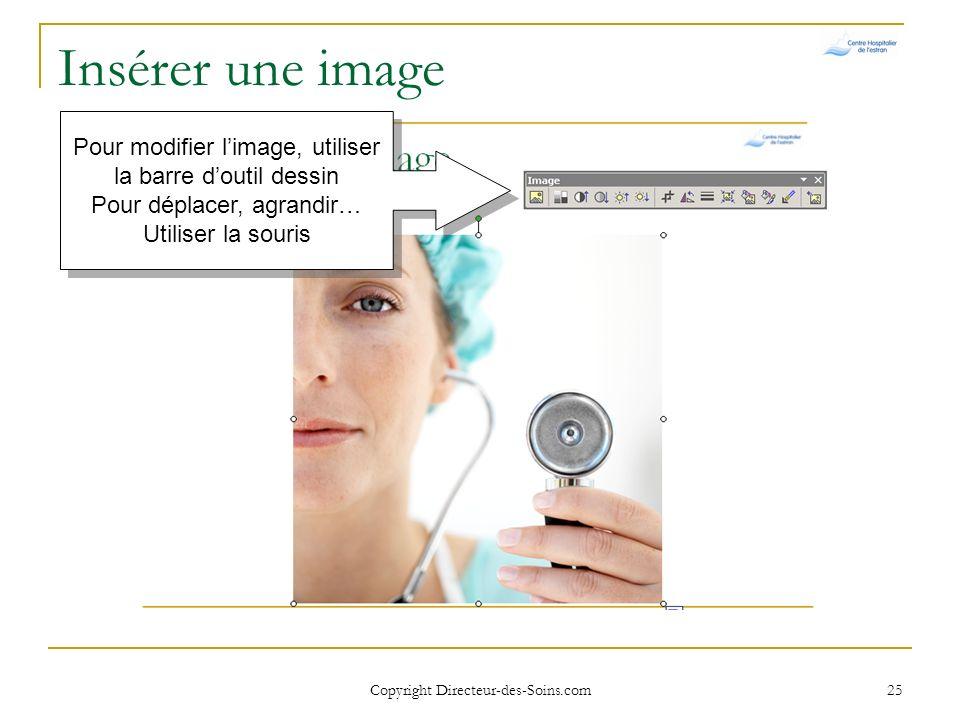 Copyright Directeur-des-Soins.com 24 Insérer une image Cliquer sur limage souhaitée
