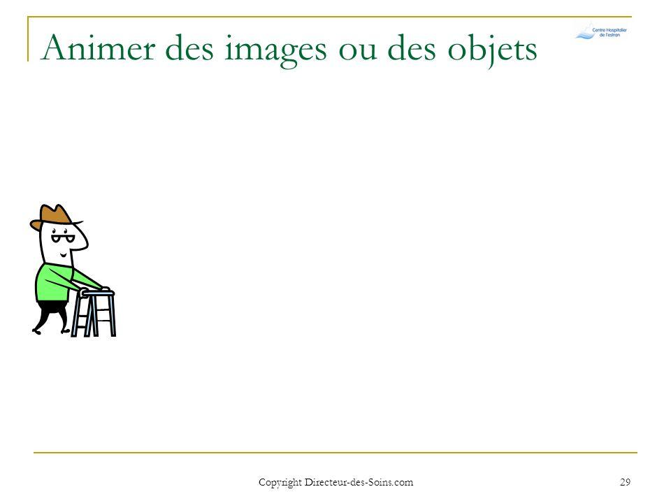 Copyright Directeur-des-Soins.com 28 Animer des images ou des objets Menu Diaporama/Personnaliser lanimation Menu contextuel Clic droit sur limage ou