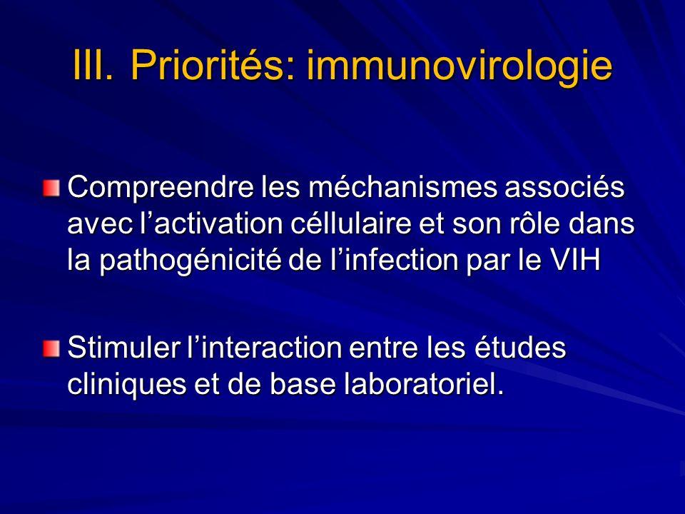 III. Priorités: immunovirologie Compreendre les méchanismes associés avec lactivation céllulaire et son rôle dans la pathogénicité de linfection par l