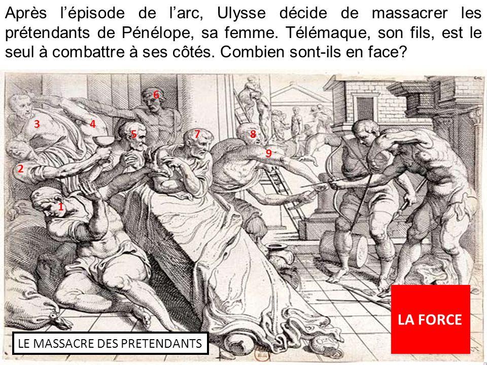 Après lépisode de larc, Ulysse décide de massacrer les prétendants de Pénélope, sa femme.