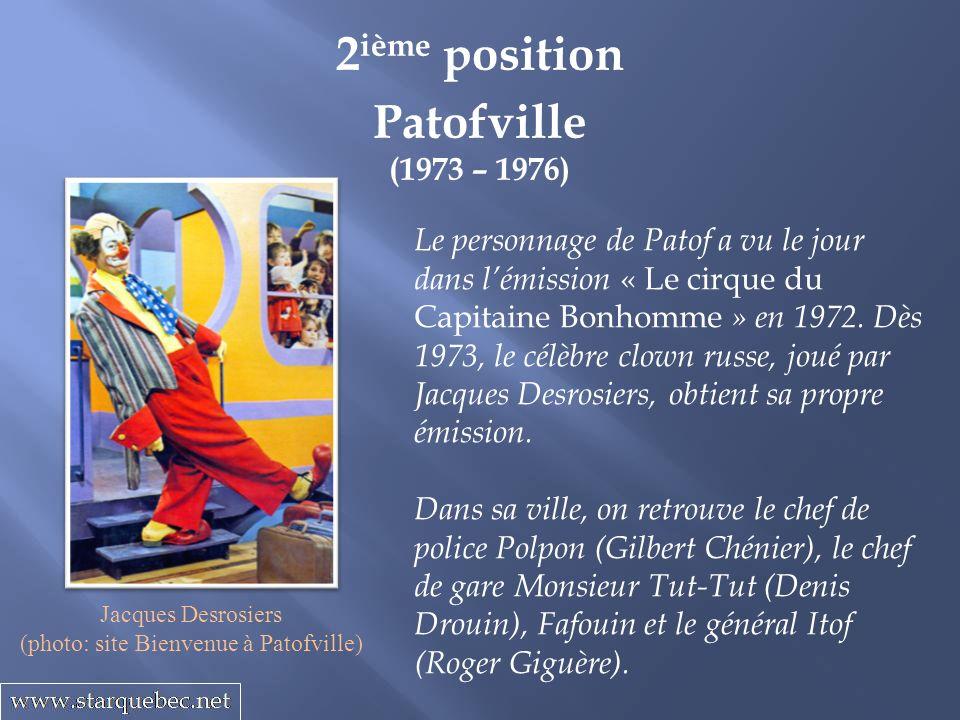 Patofville (1973 – 1976) 2 ième position Le personnage de Patof a vu le jour dans lémission « Le cirque du Capitaine Bonhomme » en 1972.