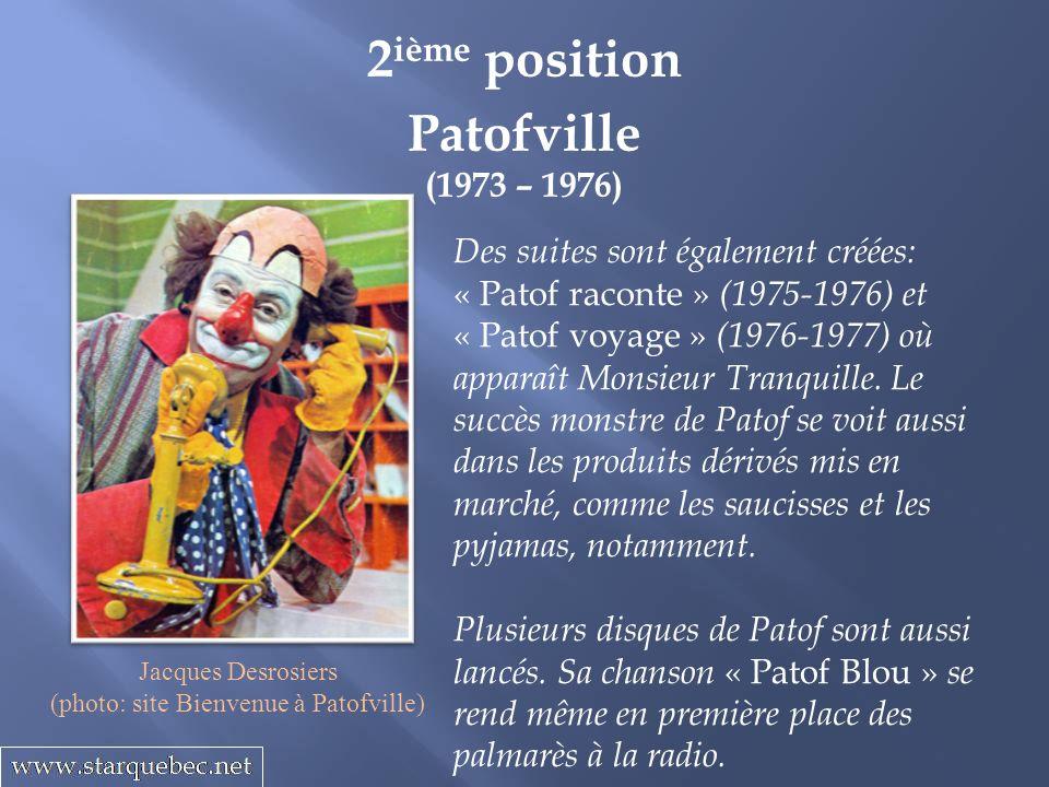 Patofville (1973 – 1976) 2 ième position Des suites sont également créées: « Patof raconte » (1975-1976) et « Patof voyage » (1976-1977) où apparaît Monsieur Tranquille.