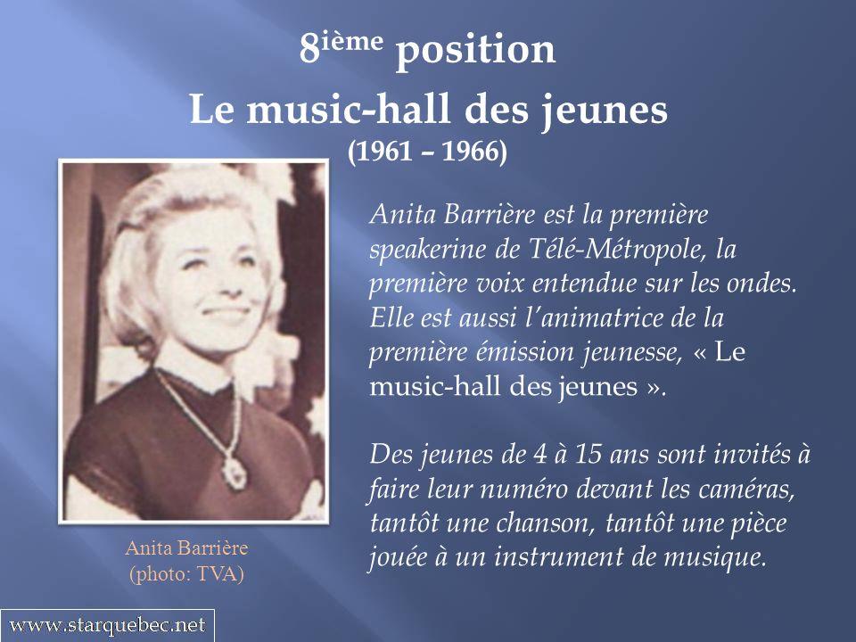 Le music-hall des jeunes (1961 – 1966) 8 ième position Anita Barrière est la première speakerine de Télé-Métropole, la première voix entendue sur les ondes.