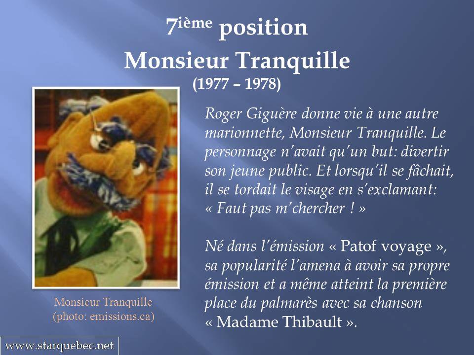 Monsieur Tranquille (1977 – 1978) 7 ième position Roger Giguère donne vie à une autre marionnette, Monsieur Tranquille.
