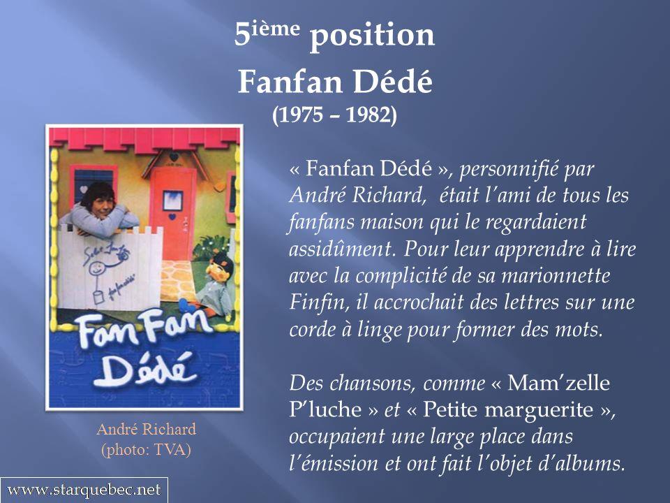 Fanfan Dédé (1975 – 1982) 5 ième position « Fanfan Dédé », personnifié par André Richard, était lami de tous les fanfans maison qui le regardaient assidûment.