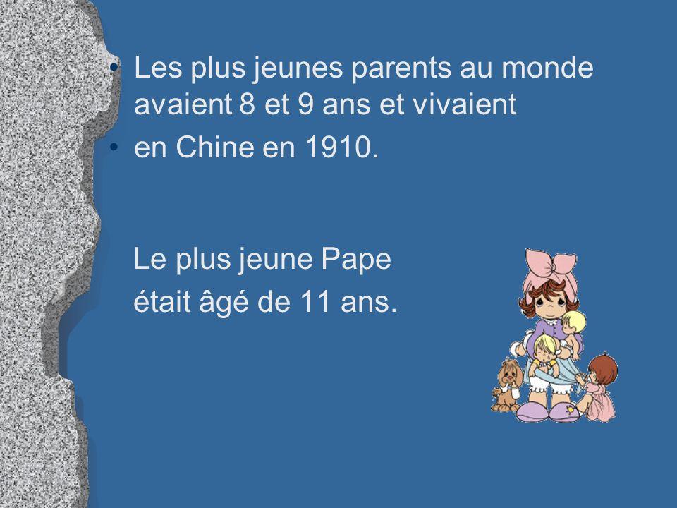 Les plus jeunes parents au monde avaient 8 et 9 ans et vivaient en Chine en 1910. Le plus jeune Pape était âgé de 11 ans.