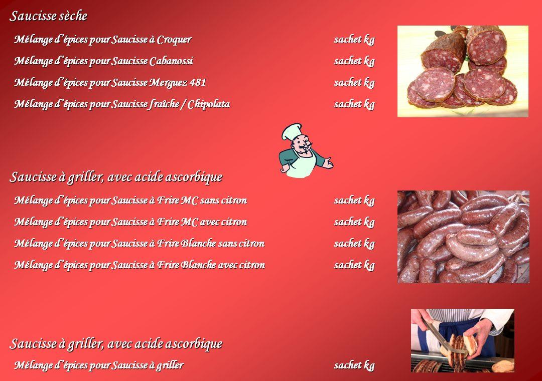 Saucisse sèche Mélange dépices pour Saucisse à Croquersachet kg Mélange dépices pour Saucisse Cabanossisachet kg Mélange dépices pour Saucisse Merguez