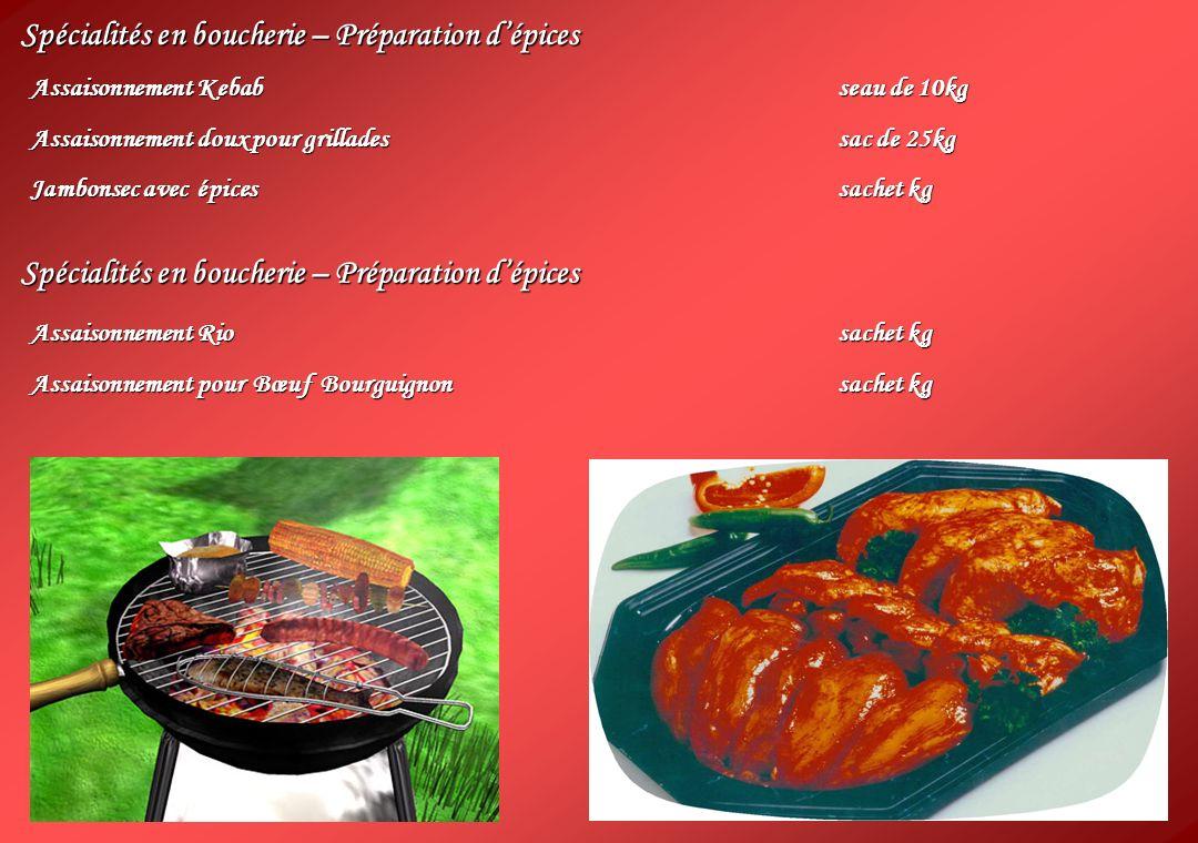 Spécialités en boucherie – Préparation dépices Assaisonnement Kebabseau de 10kg Assaisonnement doux pour grilladessac de 25kg Jambonsec avec épicessac