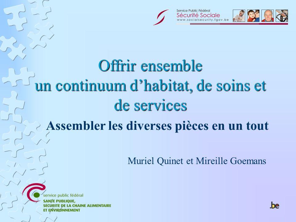 Offrir ensemble un continuum dhabitat, de soins et de services Assembler les diverses pièces en un tout Muriel Quinet et Mireille Goemans