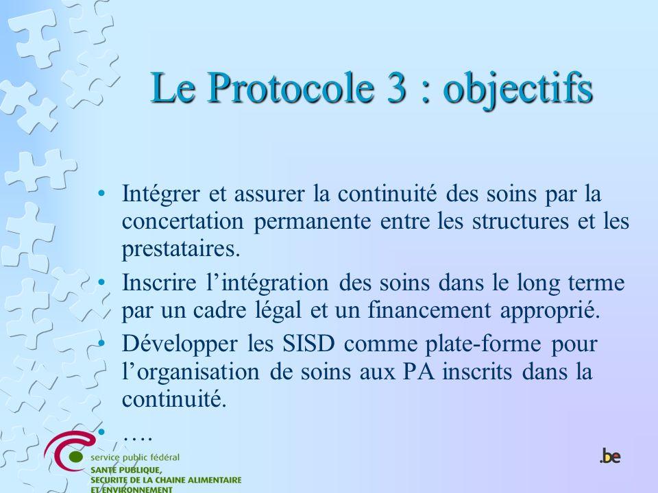 Le Protocole 3 : objectifs Intégrer et assurer la continuité des soins par la concertation permanente entre les structures et les prestataires. Inscri