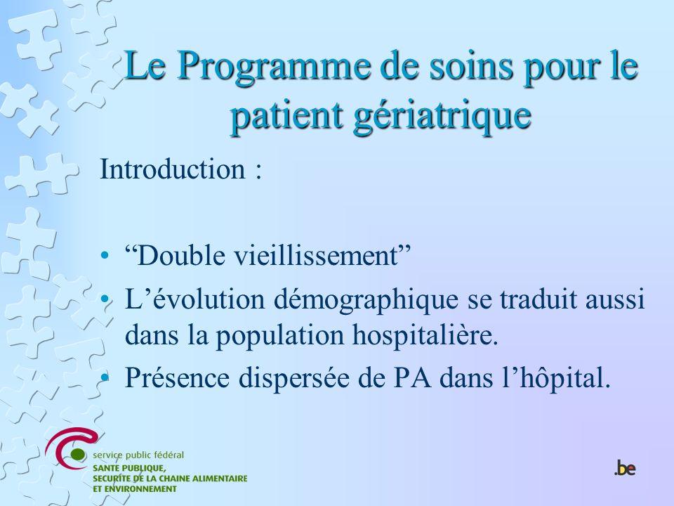 Le Programme de soins pour le patient gériatrique Introduction : Double vieillissement Lévolution démographique se traduit aussi dans la population ho