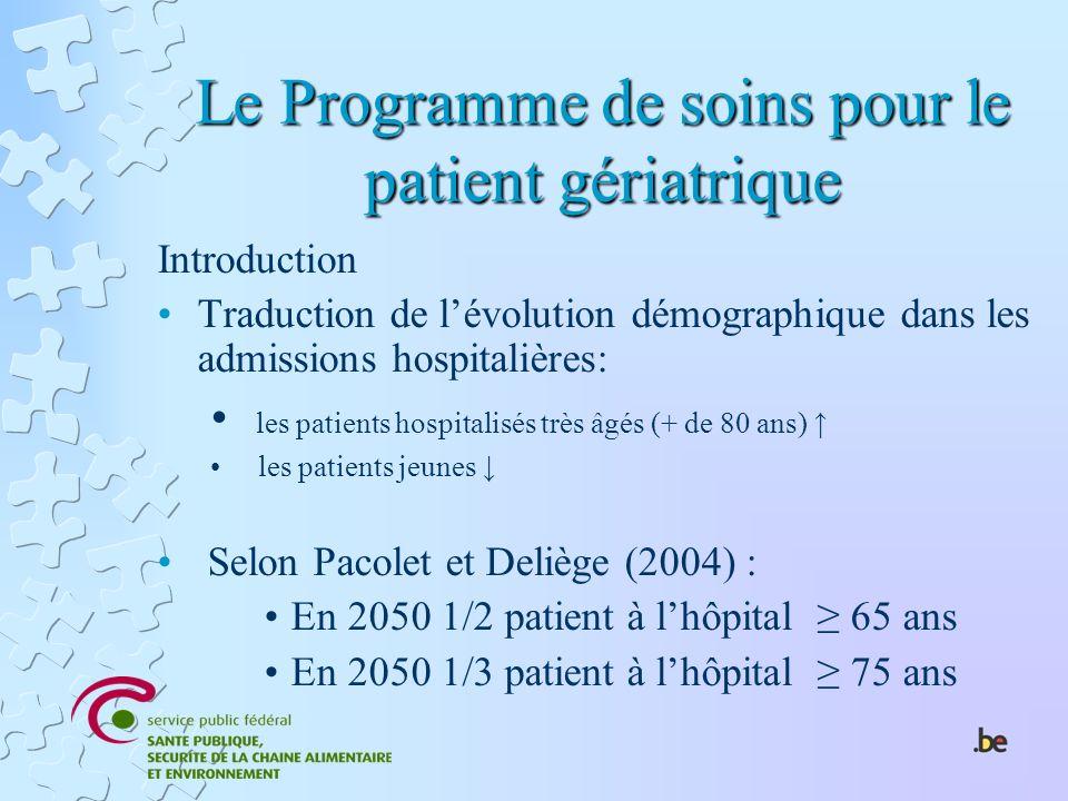 Le Programme de soins pour le patient gériatrique Introduction Traduction de lévolution démographique dans les admissions hospitalières: les patients