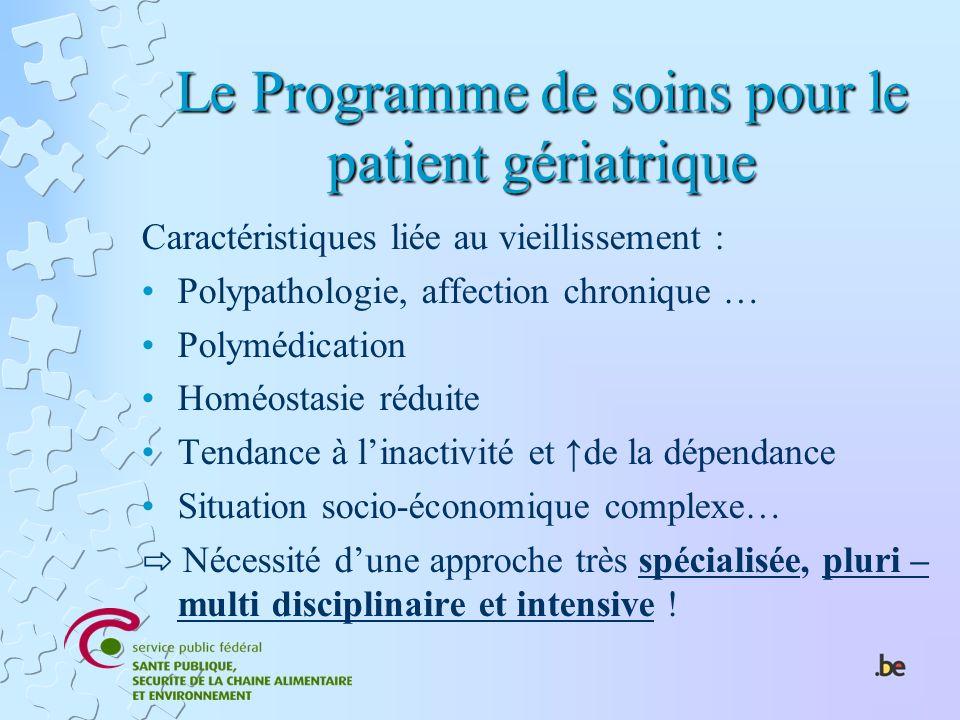 Le Programme de soins pour le patient gériatrique Caractéristiques liée au vieillissement : Polypathologie, affection chronique … Polymédication Homéo