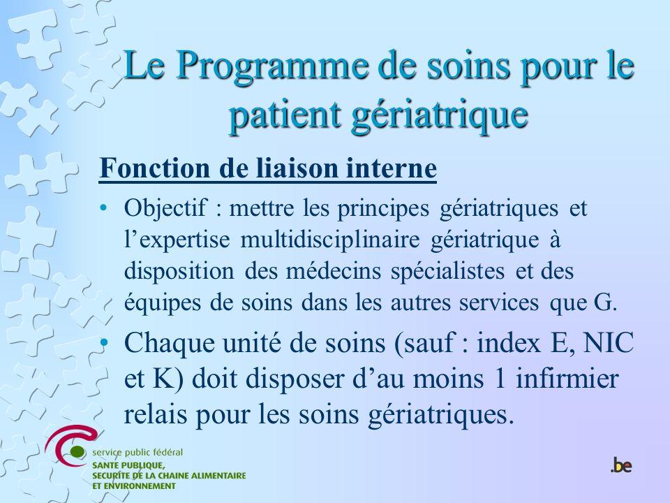 Le Programme de soins pour le patient gériatrique Fonction de liaison interne Objectif : mettre les principes gériatriques et lexpertise multidiscipli