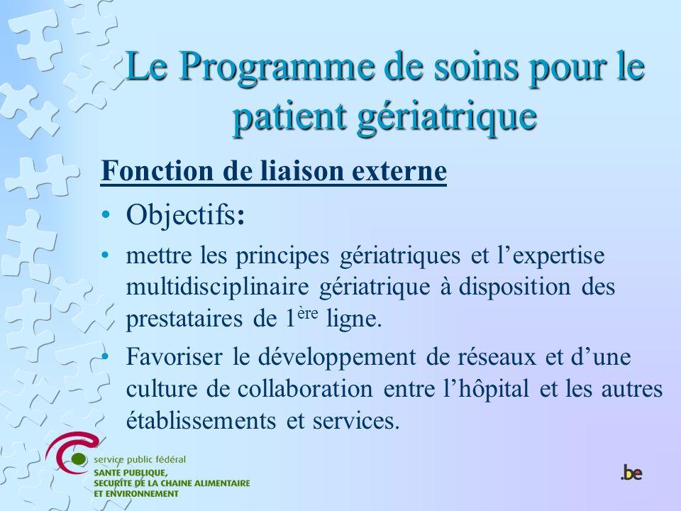 Le Programme de soins pour le patient gériatrique Fonction de liaison externe Objectifs: mettre les principes gériatriques et lexpertise multidiscipli
