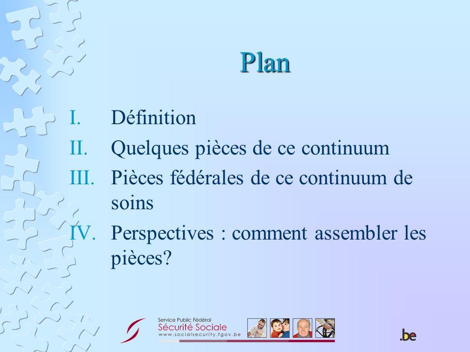 Plan I.Définition II.Quelques pièces de ce continuum III.Pièces fédérales de ce continuum de soins IV.Perspectives : comment assembler les pièces?
