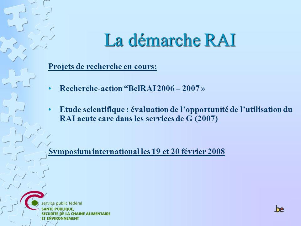 La démarche RAI Projets de recherche en cours: Recherche-action BelRAI 2006 – 2007 » Etude scientifique : évaluation de lopportunité de lutilisation d