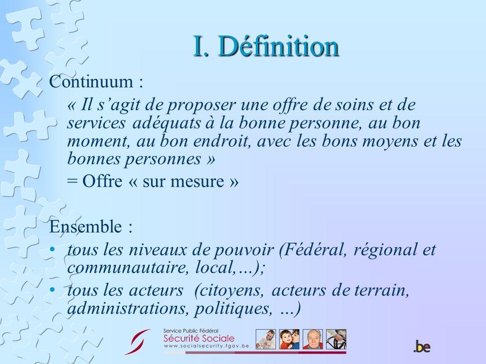 I. Définition Continuum : « Il sagit de proposer une offre de soins et de services adéquats à la bonne personne, au bon moment, au bon endroit, avec l
