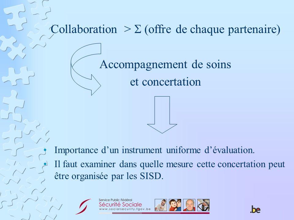 Collaboration > (offre de chaque partenaire) Accompagnement de soins et concertation Importance dun instrument uniforme dévaluation. Il faut examiner