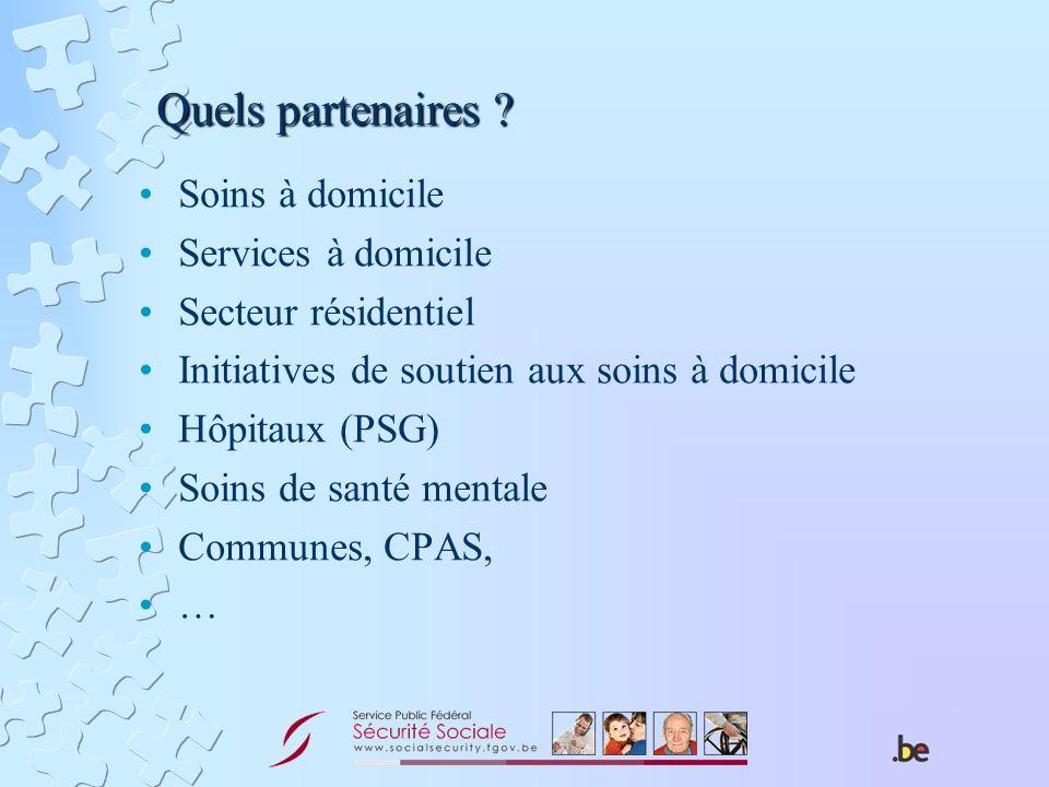 Quels partenaires ? Soins à domicile Services à domicile Secteur résidentiel Initiatives de soutien aux soins à domicile Hôpitaux (PSG) Soins de santé