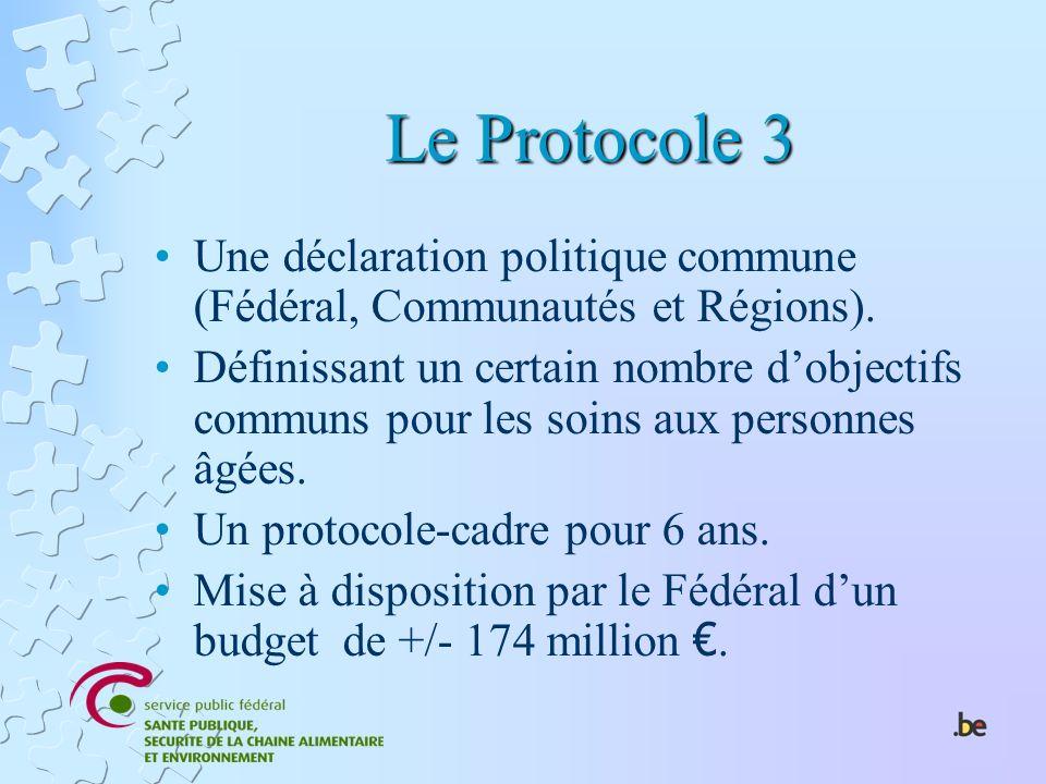 Le Protocole 3 Une déclaration politique commune (Fédéral, Communautés et Régions). Définissant un certain nombre dobjectifs communs pour les soins au