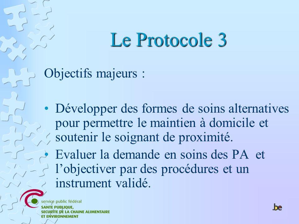 Le Protocole 3 Objectifs majeurs : Développer des formes de soins alternatives pour permettre le maintien à domicile et soutenir le soignant de proxim