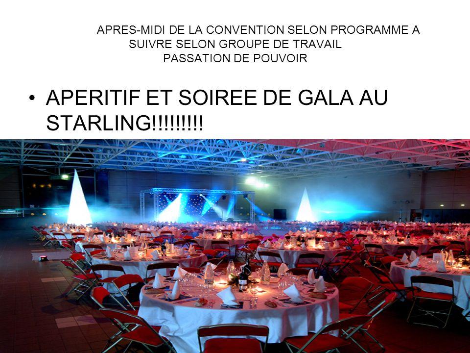 APRES-MIDI DE LA CONVENTION SELON PROGRAMME A SUIVRE SELON GROUPE DE TRAVAIL PASSATION DE POUVOIR APERITIF ET SOIREE DE GALA AU STARLING!!!!!!!!!