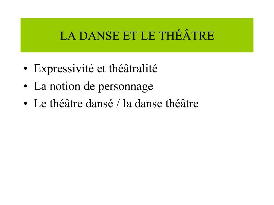 LA DANSE ET LE THÉÂTRE Expressivité et théâtralité La notion de personnage Le théâtre dansé / la danse théâtre