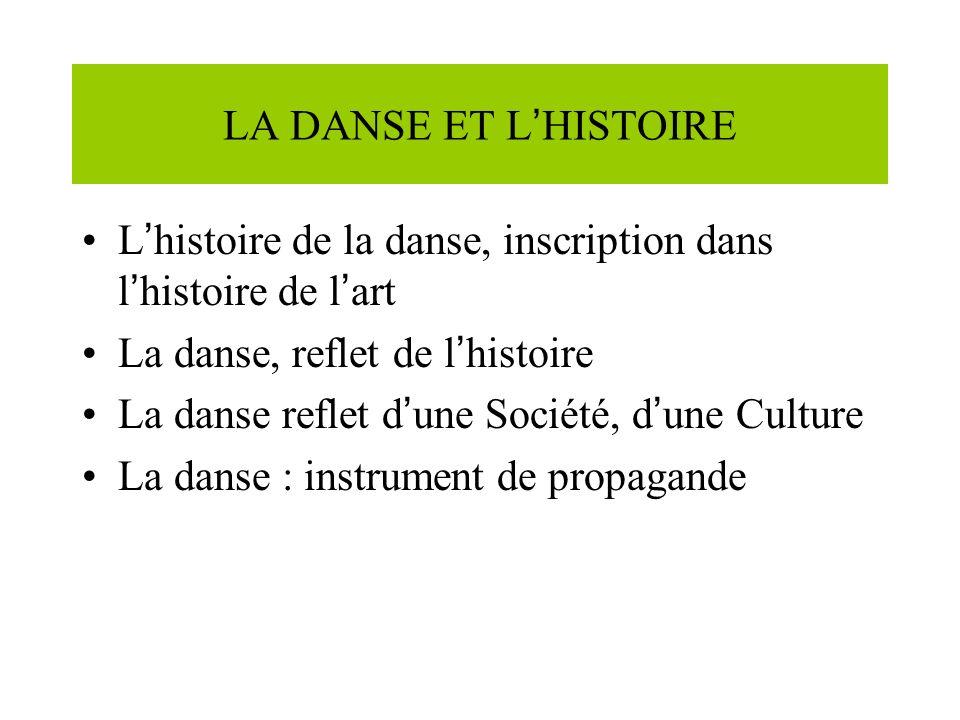 LA DANSE ET L HISTOIRE L histoire de la danse, inscription dans l histoire de l art La danse, reflet de l histoire La danse reflet d une Société, d une Culture La danse : instrument de propagande