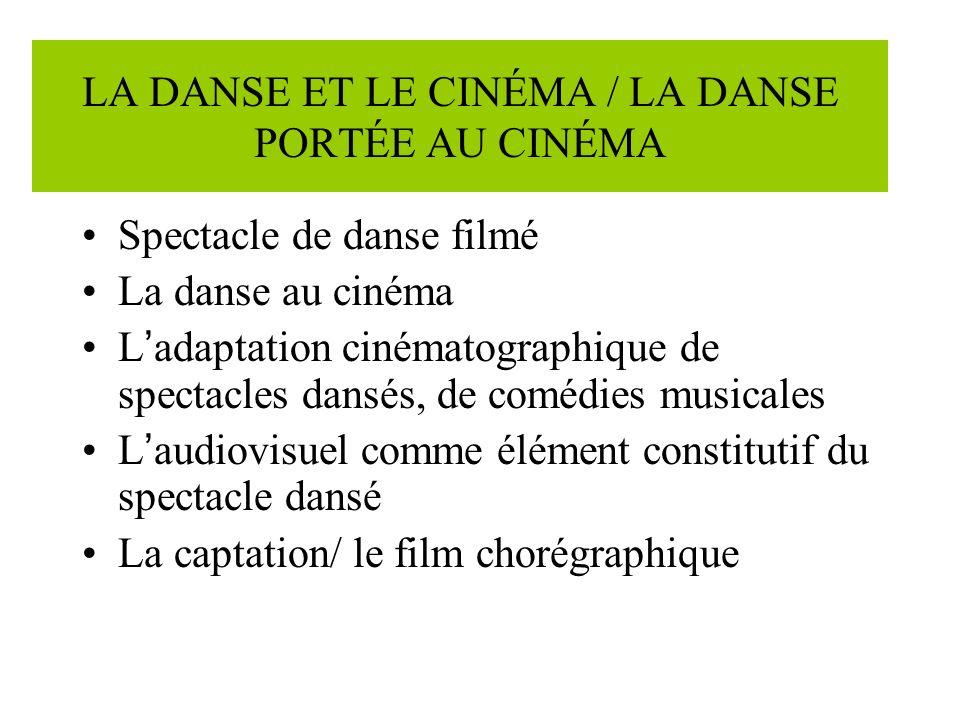 LA DANSE ET LE CINÉMA / LA DANSE PORTÉE AU CINÉMA Spectacle de danse filmé La danse au cinéma L adaptation cinématographique de spectacles dansés, de