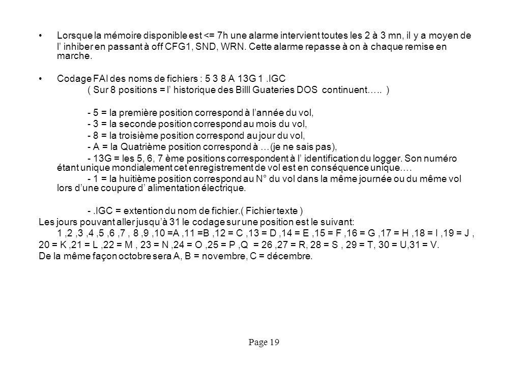 Page 19 Lorsque la mémoire disponible est <= 7h une alarme intervient toutes les 2 à 3 mn, il y a moyen de l inhiber en passant à off CFG1, SND, WRN.