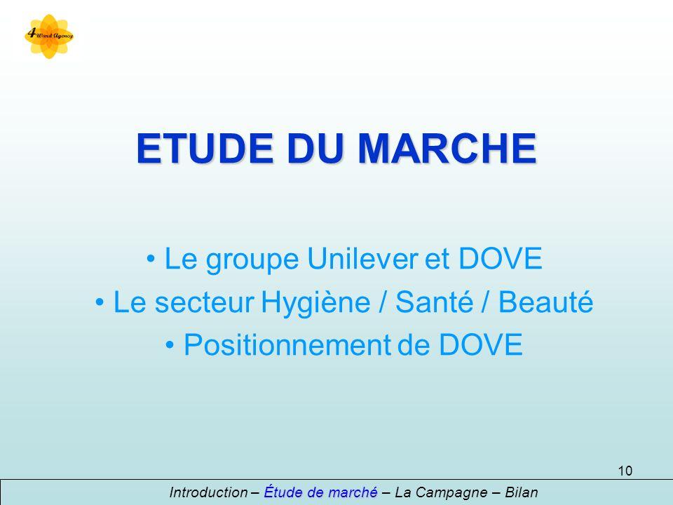 10 ETUDE DU MARCHE Le groupe Unilever et DOVE Le secteur Hygiène / Santé / Beauté Positionnement de DOVE Étude de marché Introduction – Étude de marché – La Campagne – Bilan