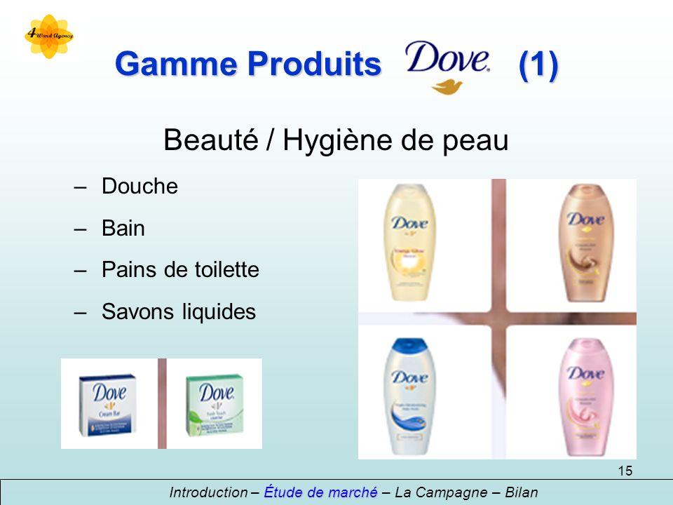 15 Gamme Produits (1) Beauté / Hygiène de peau – Douche – Bain – Pains de toilette – Savons liquides Étude de marché Introduction – Étude de marché –