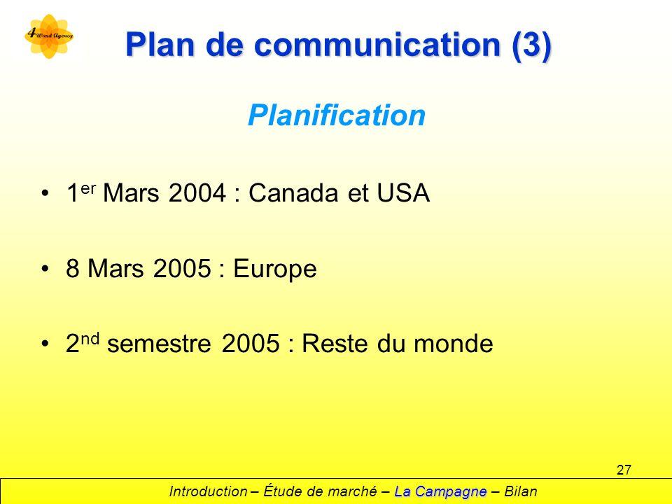 27 Plan de communication (3) Planification 1 er Mars 2004 : Canada et USA 8 Mars 2005 : Europe 2 nd semestre 2005 : Reste du monde La Campagne Introduction – Étude de marché – La Campagne – Bilan