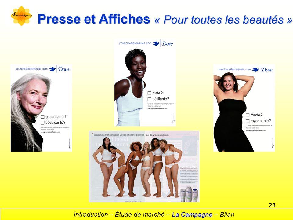 28 Presse et Affiches « Pour toutes les beautés » La Campagne Introduction – Étude de marché – La Campagne – Bilan