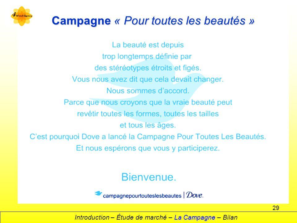 29 Campagne « Pour toutes les beautés » La Campagne Introduction – Étude de marché – La Campagne – Bilan