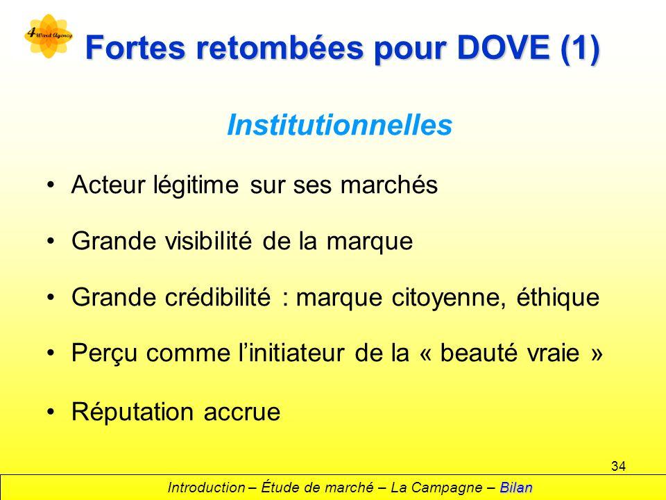 34 Fortes retombées pour DOVE (1) Institutionnelles Acteur légitime sur ses marchés Grande visibilité de la marque Grande crédibilité : marque citoyen