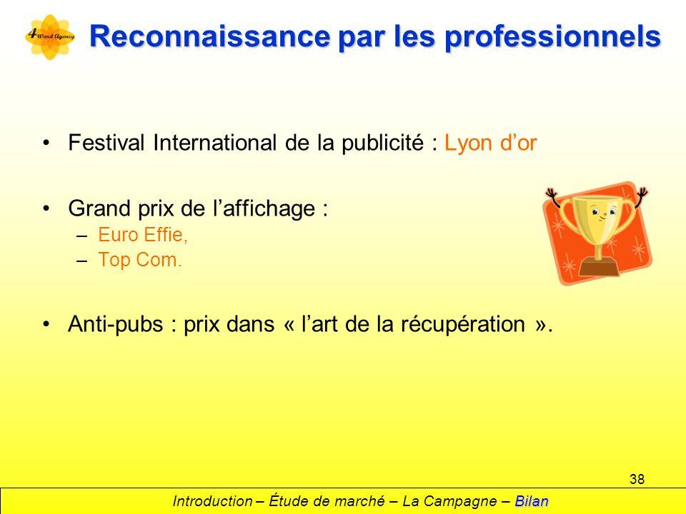 38 Reconnaissance par les professionnels Festival International de la publicité : Lyon dor Grand prix de laffichage : –Euro Effie, –Top Com. Anti-pubs