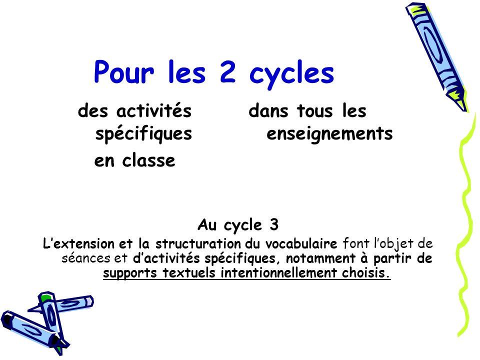 Pour les 2 cycles des activités spécifiques en classe dans tous les enseignements Au cycle 3 Lextension et la structuration du vocabulaire font lobjet de séances et dactivités spécifiques, notamment à partir de supports textuels intentionnellement choisis.