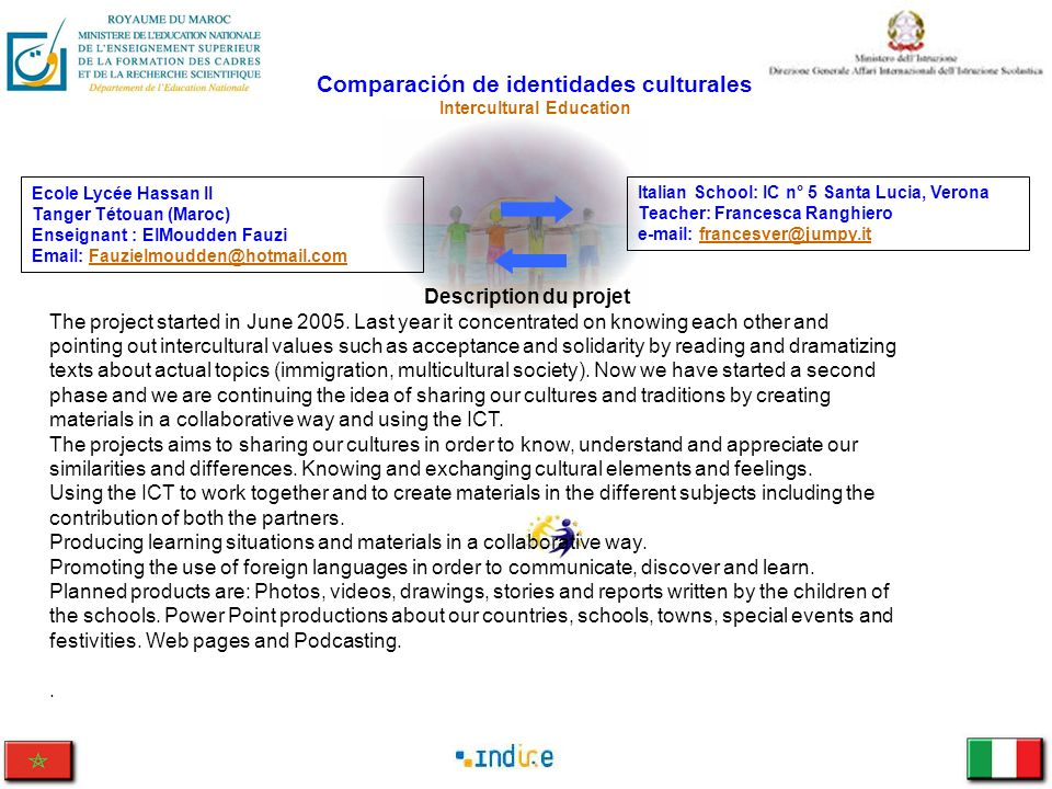Comparación de identidades culturales Intercultural Education Italian School: IC n° 5 Santa Lucia, Verona Teacher: Francesca Ranghiero e-mail: frances