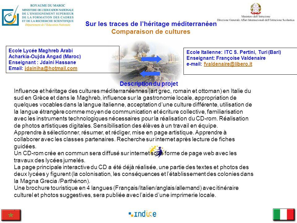 Sur les traces de lhéritage méditerranéen Comparaison de cultures Ecole Italienne: ITC S. Pertini, Turi (Bari) Enseignant: Françoise Valdenaire e-mail