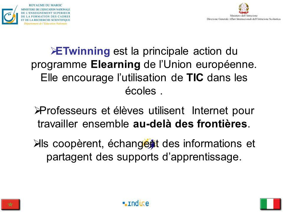 ETwinning est la principale action du programme Elearning de lUnion européenne. Elle encourage lutilisation de TIC dans les écoles. Professeurs et élè