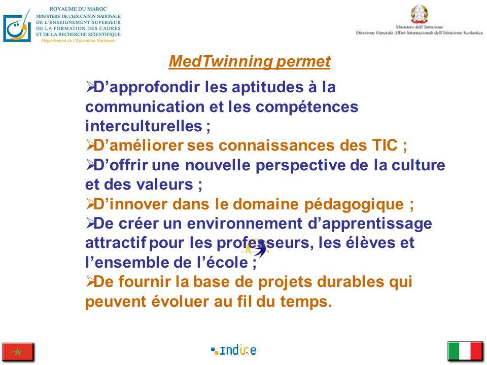 MedTwinning permet Dapprofondir les aptitudes à la communication et les compétences interculturelles ; Daméliorer ses connaissances des TIC ; Doffrir