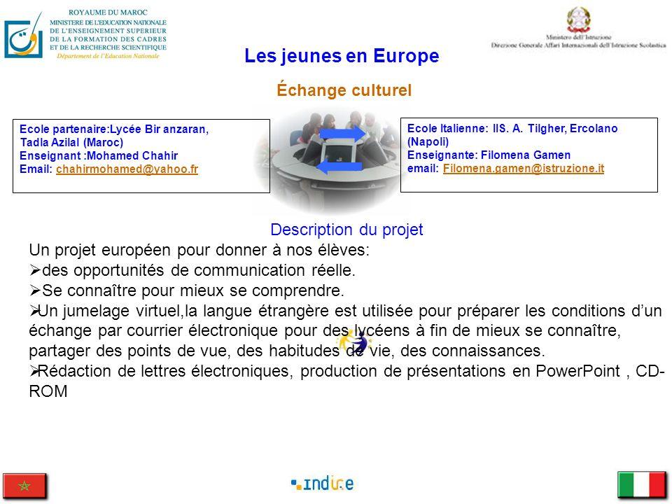 Les jeunes en Europe Échange culturel Ecole Italienne: IIS. A. Tilgher, Ercolano (Napoli) Enseignante: Filomena Gamen email: Filomena.gamen@istruzione