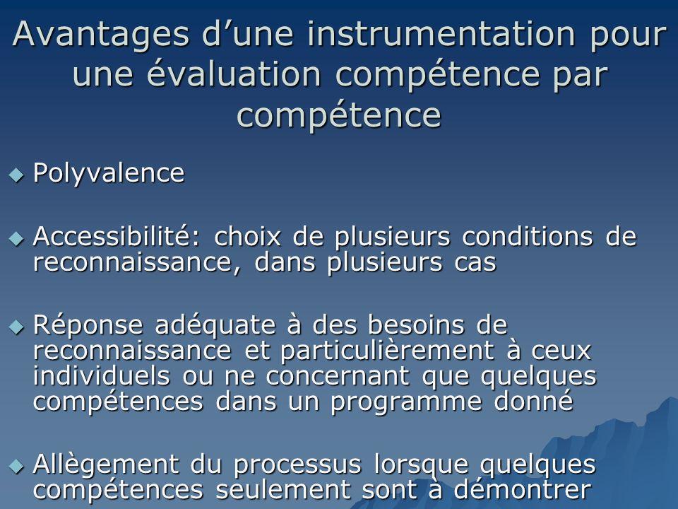 Avantages dune instrumentation pour une évaluation compétence par compétence Polyvalence Polyvalence Accessibilité: choix de plusieurs conditions de r
