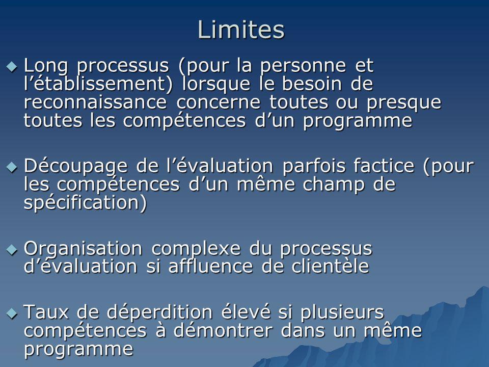 Limites Long processus (pour la personne et létablissement) lorsque le besoin de reconnaissance concerne toutes ou presque toutes les compétences dun