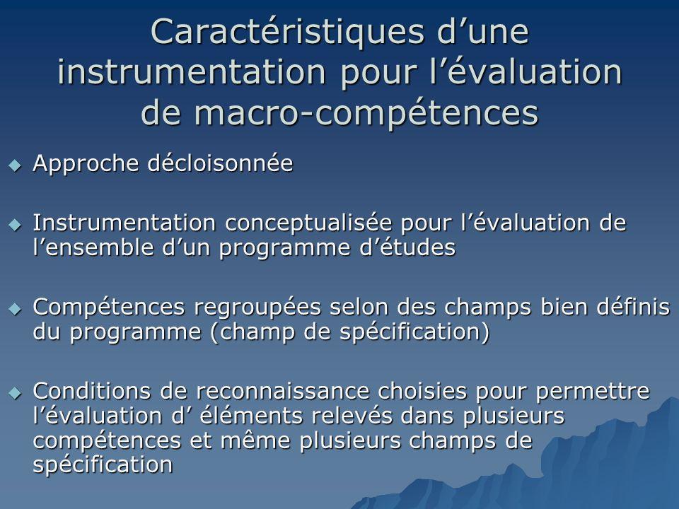 Caractéristiques dune instrumentation pour lévaluation de macro-compétences Approche décloisonnée Approche décloisonnée Instrumentation conceptualisée